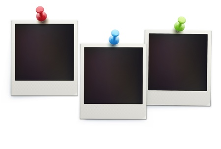 Vector illustration of three blank retro polaroid photo frames over white background Illustration