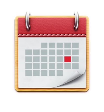reminder icon: Vector illustration of detailed beautiful calendar icon isolated on white background
