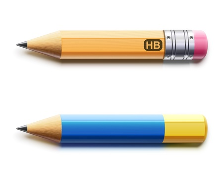 coloured pencil: Vector illustration of two sharpened detailed pencils isolated on white background