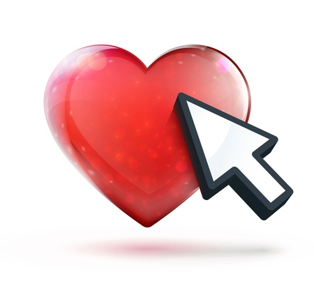 Vector illustration of online dating concept with red glossy heart shape and arrow cursor Stock Vector - 17359227