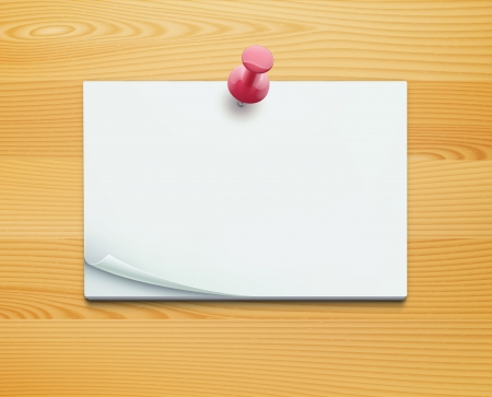 straight pin: Vector illustration of post note with push pin on detailed wooden background