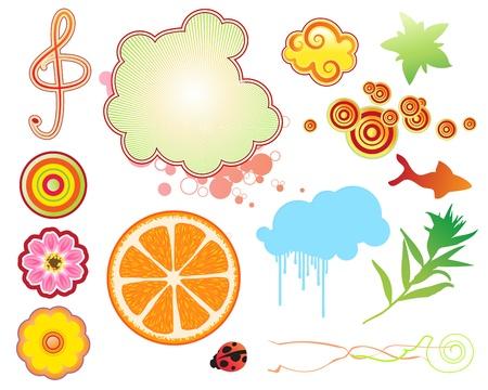 Vector illustration set of funky summer design elements. Set-1 Stock Vector - 17359234