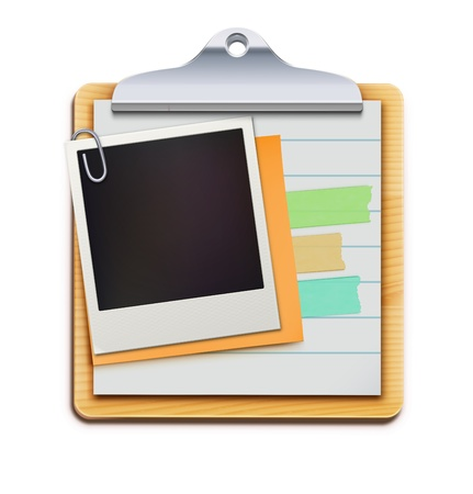 important information: Vector illustration of clipboard with blank retro polaroid photo frame isolated on white background