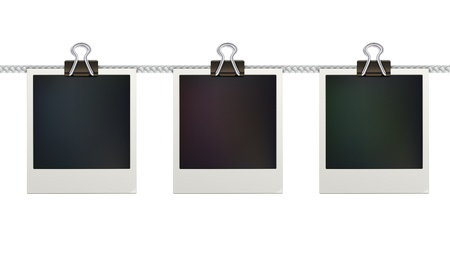 illustration of three blank retro photo frames over white background
