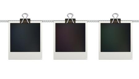 illustration of three blank retro photo frames over white background