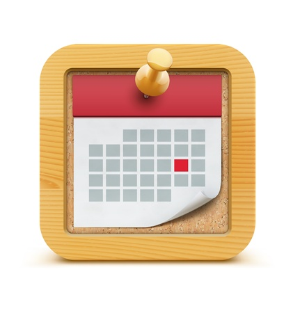 illustration of detailed beautiful calendar icon in the cork bulletin board with wood frame  Stock Vector - 17431961