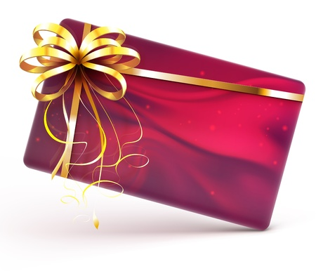 greeting card backgrounds: illustration of red decorated gift card with golden ribbon and bow isolated on white background Illustration