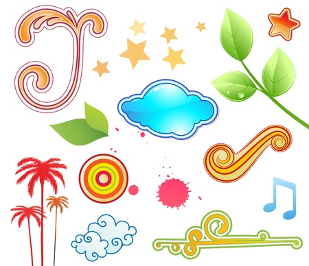 illustration set of funky summer design elements. Stock Vector - 17431965