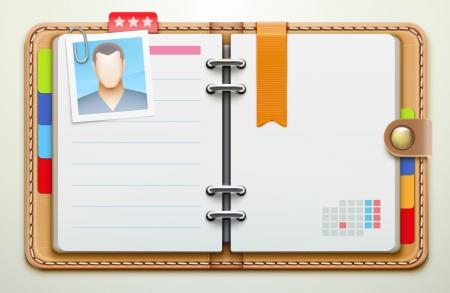 datos personales: ilustración de la vista aérea realista de cuero organizador personal  planificador