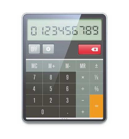 calculadora: ilustraci�n realista de la calculadora electr�nica aislada en el fondo blanco. Vectores