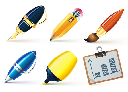 Vector illustration set of writing implements including pencil, pen, marker, brush and clipboard.