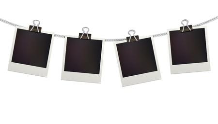 4 空白のレトロなポラロイド写真フレーム ホワイト バック グラウンド上のベクトル図