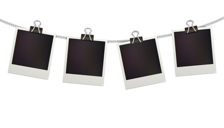 polaroid: Vector illustration of four blank retro polaroid photo frames over white background