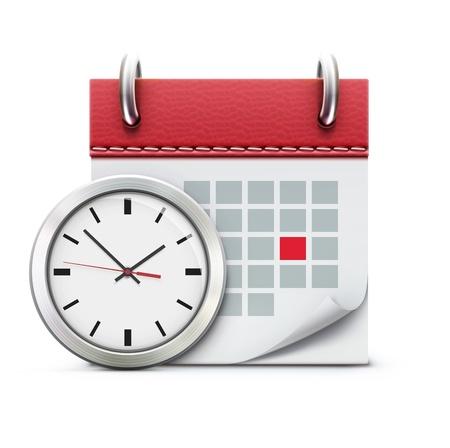 Vector illustration de la notion de synchronisation avec l'horloge de bureau classique et l'icône de calendrier détaillé Vecteurs