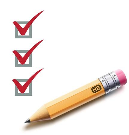 cheque en blanco: Ilustración vectorial de una lista de control con un lápiz detallado marcando tareas Vectores