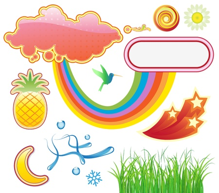 illustration set of funky summer design elements Stock Vector - 17595020
