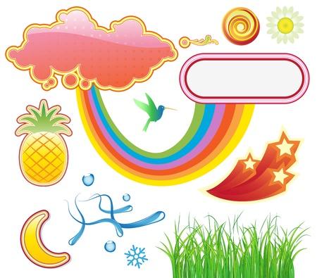 illustration set of funky summer design elements Stock Vector - 17595020