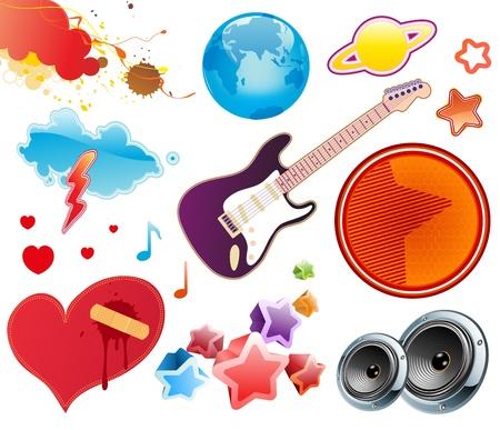 Vector illustration set of funky summer music design elements. Set-6 Stock Vector - 17595038