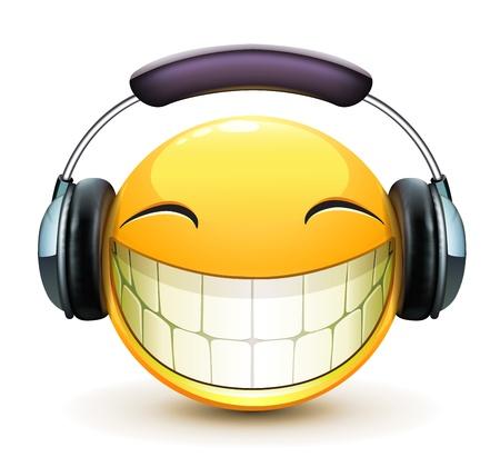Ilustración vectorial de fresco brillante emoticon solo musical con los auriculares detalladas Ilustración de vector