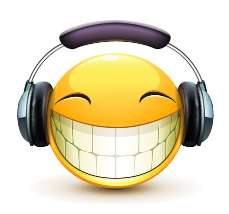 laugh emoticon: Vector illustration of cool glossy single musical emoticon with detailed headphones