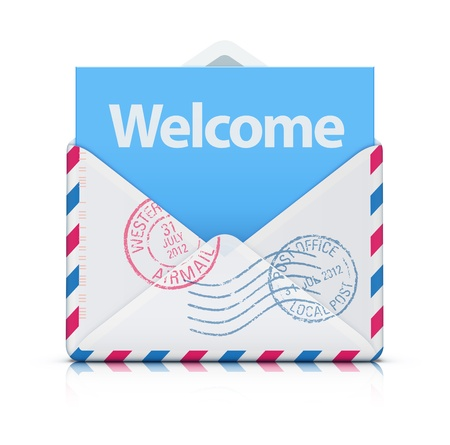 private information: Vector illustration of Welcome concept with open blank airmail envelope