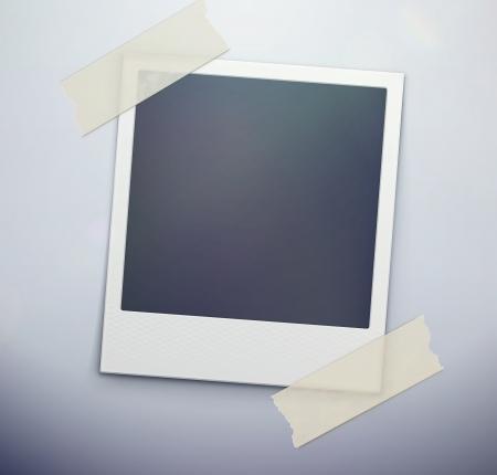 Vector illustration of blank retro polaroid photo frame over soft background