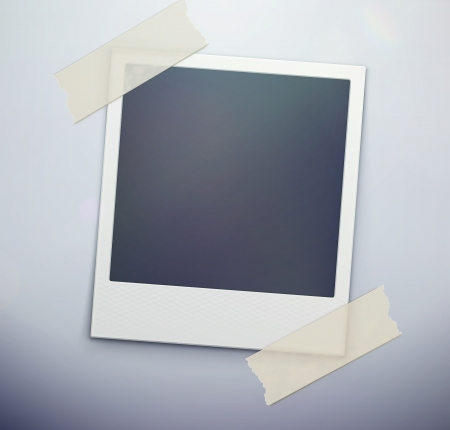 Vector illustration of blank retro polaroid photo frame over soft background