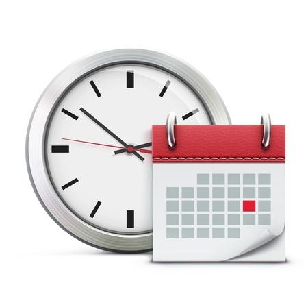 kalendarz: Ilustracja wektorowa koncepcji rozrządu z klasycznym zegarem biurowych i szczegółowe ikony kalendarza
