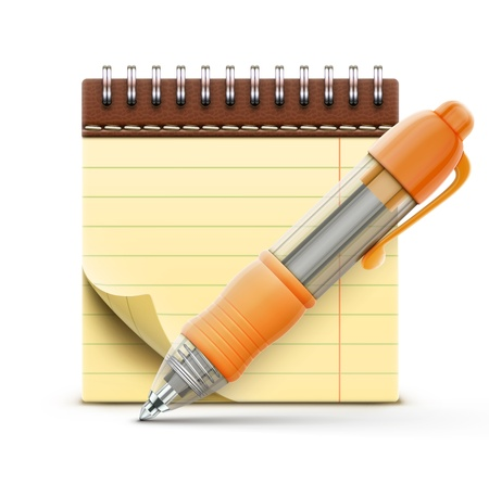 Vector illustration of detailed orange ballpoint pen with coil bound notebook