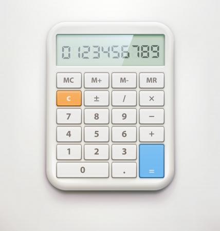 calculadora: Ilustraci�n vectorial de calculadora electr�nica realista aislado en fondo suave.