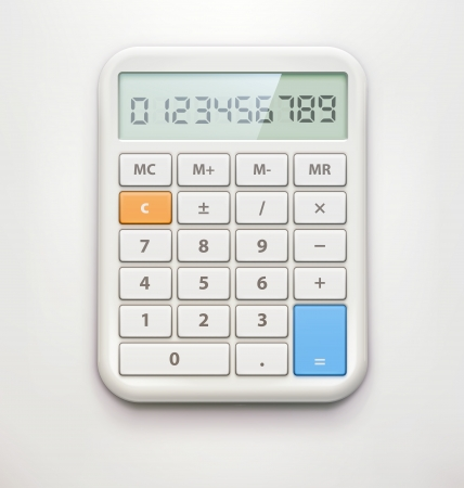 calculator icon: Vector illustration of realistic electronic calculator isolated on soft background.