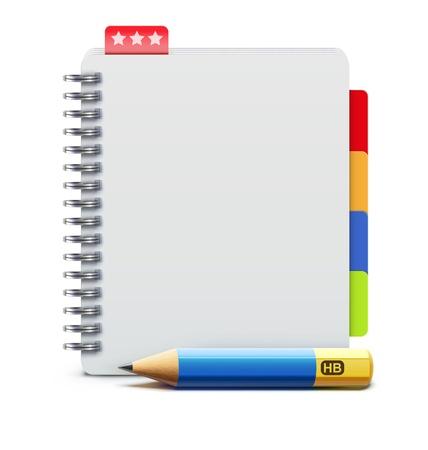 Ilustración vectorial de cuaderno de espiral lápiz realista y detallado Ilustración de vector