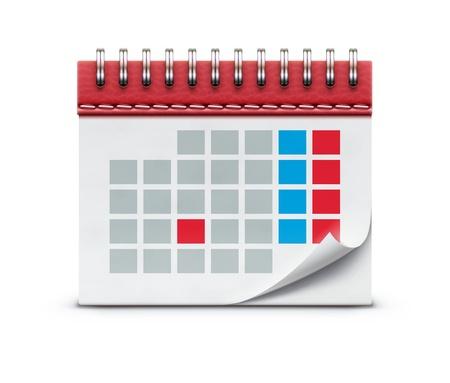 詳細な美しいカレンダー アイコンの白い背景で隔離のイラスト。  イラスト・ベクター素材