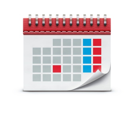 event planning: illustration of detailed beautiful calendar icon isolated on white background.