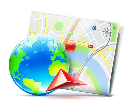 illustration of global navigation concept with blue glossy earth globe and city map