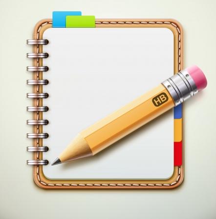 바인더: 현실적인 가죽 나선형 노트북 및 세부 연필 그림