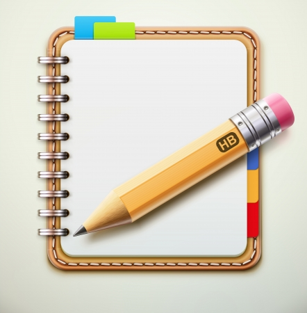 illustration of realistic leather spiral notebook and detailed pencil