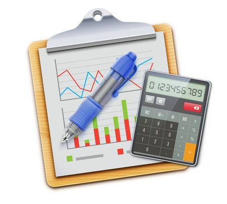calculator icon: illustration of business concept with clipboard, calculator icon and blue ballpoint pen isolated on white background Illustration
