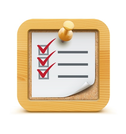 clipboard isolated: illustration of cool check list with push pin on the cork bulletin board with wood frame