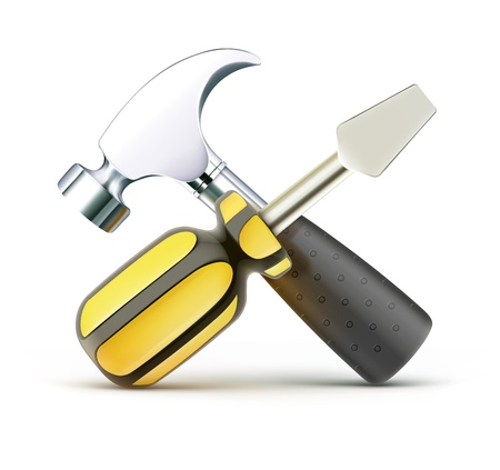 recondition: illustration of detailed screwdriver and hammer icon isolated on white background Illustration