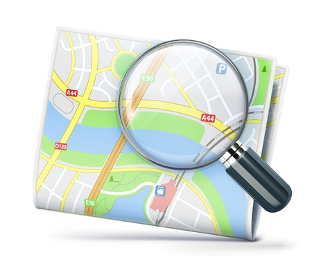loupe: illustration of travel concept with city street map and magnifying glass over it