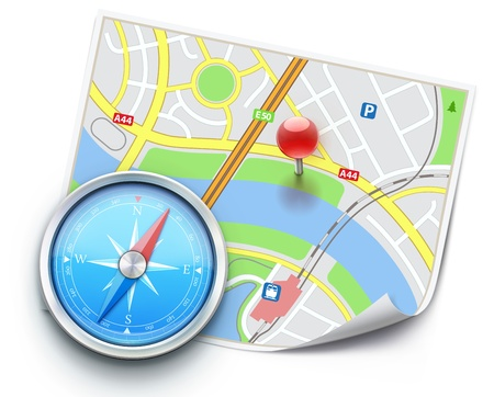 Vector illustration of navigation concept with detailed blue compass and city map