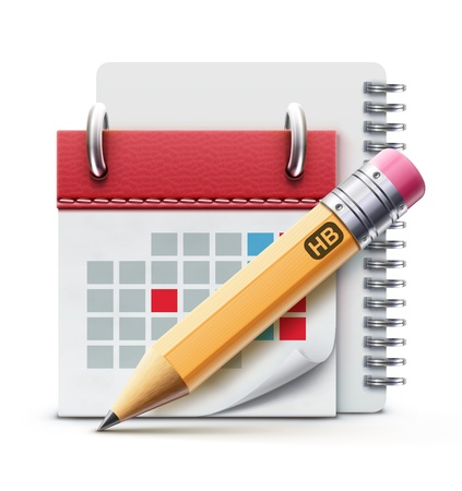Vector illustration of beautiful calendar icon, spiral notebook and detailed pencil  Stock Illustratie