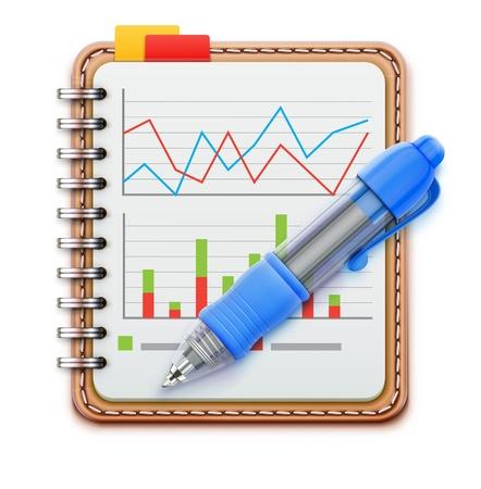 informe comercial: Vector ilustraci�n de concepto de negocio con el cuaderno espiral realista de cuero y pluma bol�grafo azul aislado sobre fondo blanco