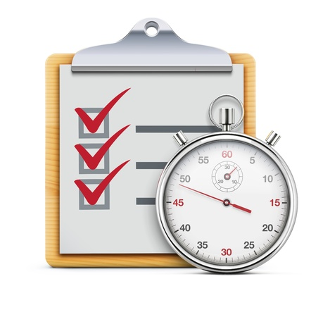 Vector illustration of timing concept with classic stopwatch, clipboard and check list  Stock Illustratie