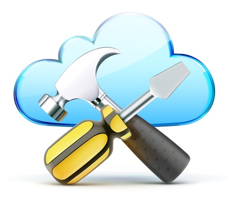 Vector illustration of cloud server optimization and configuration concept Vector