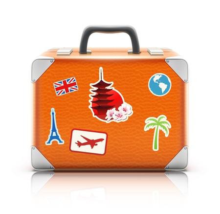 Ilustración vectorial de la maleta de la vendimia con las etiquetas engomadas cobardes aisladas sobre fondo blanco