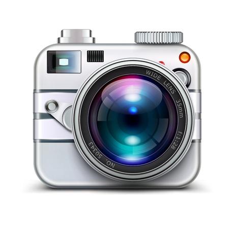 photo camera: Illustrazione vettoriale di icona dettagliata che rappresenta fotocamera stile metal con lente