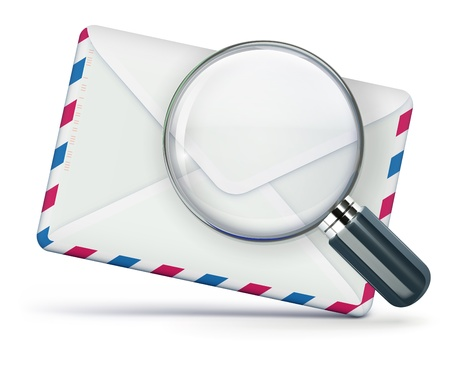 Vector illustration of searching concept with blank airmail envelope and magnifying glass over it