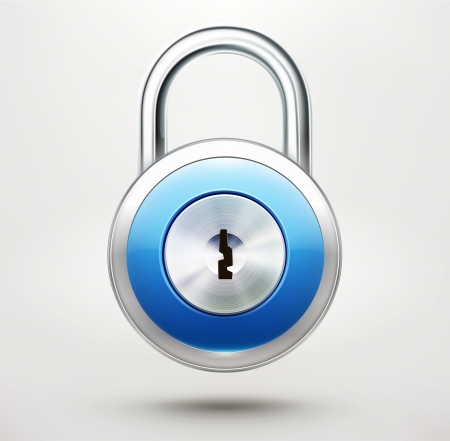 Vector illustration of security concept with locked blue pad lock Illustration